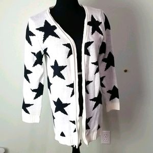 Black and white star open front cardigan